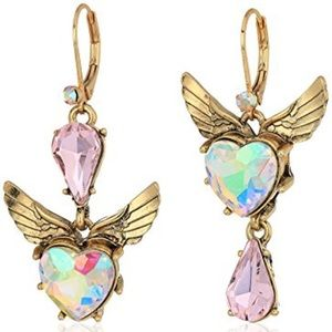 Betsey Johnson Heart & Wing Crystal Drop Earrings